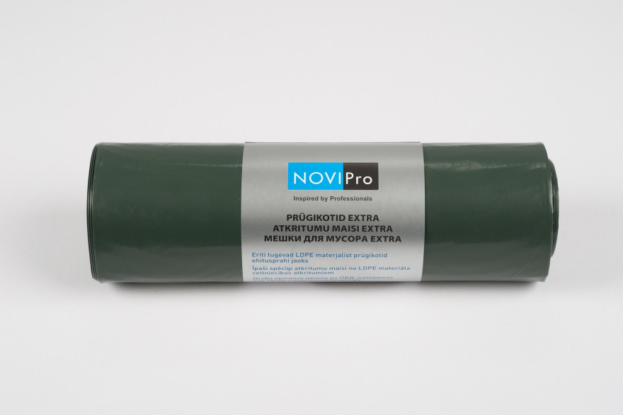 NOVIPro Atkritumu maisi 200l  5gb/rullī zaļi