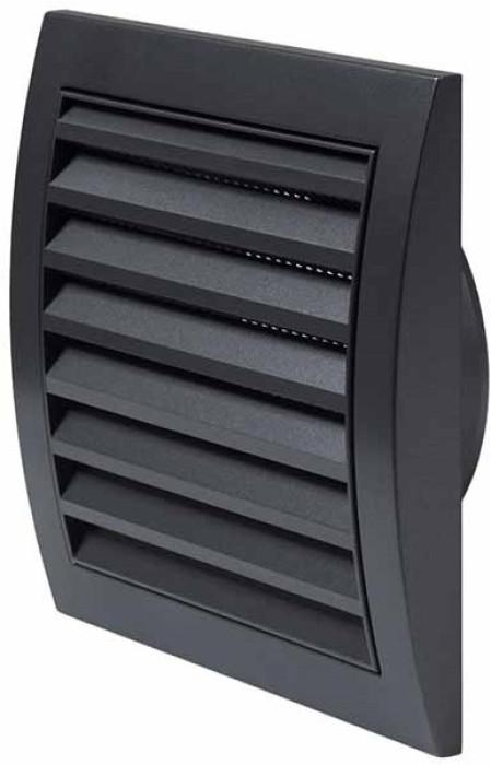 Ventilācijas reste plastmasas, 148x153mm, Ø100mm, antracīts