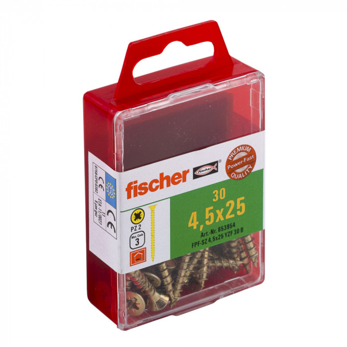 FISCHER Шурупы по дереву FPF-SZ 4.5x25 YZ 30шт / упаковка 653954